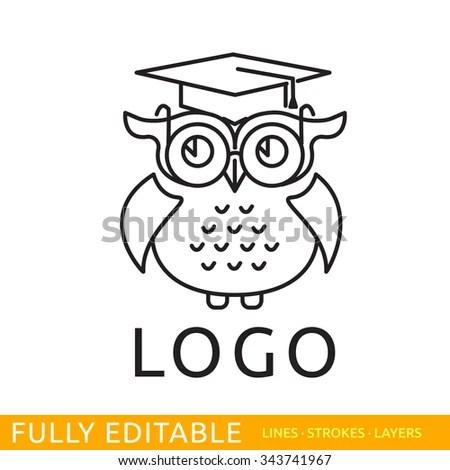 Owl Template Logo Line Flat Design Stock Vector (Royalty Free