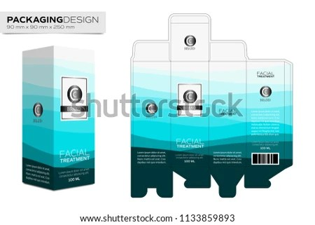 Packaging Design Template Box Layout Cosmetic Stock Vector (Royalty