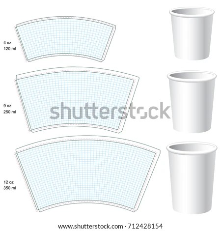 Paper Cup Vector Blank Templates 3 Stock Vector (Royalty Free