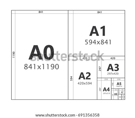 Paper Size Format Series A A 0 Stock Vector (Royalty Free) 691356358