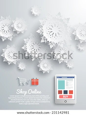 Paper Snowflakes Modern Device Smartphone Online Stock Vector