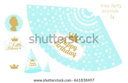 Party Hats Printable Blue Gold Prince Stock Vector (Royalty Free