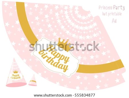 Party Hats V Printable Pink Gold Stock Vector (Royalty Free