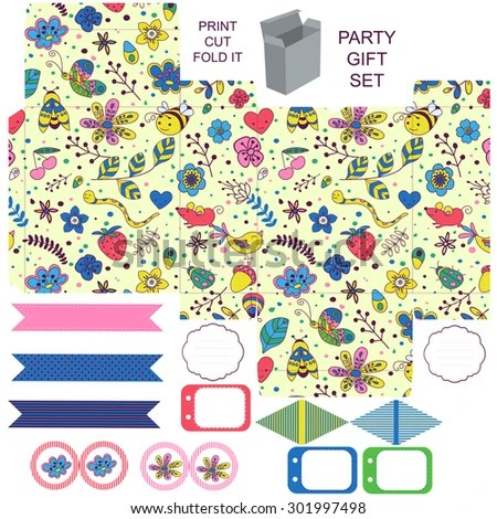 Party Set Gift Box Template Abstract Stock Vector (Royalty Free