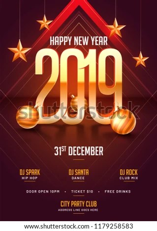 Party Template Flyer Design 3 D Stylish Stock Vector (Royalty Free