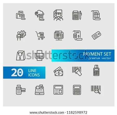 Payment Icons Set Line Icons Print Stock Vector (Royalty Free