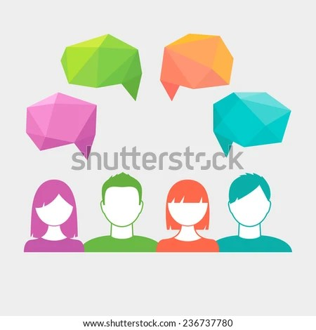 People Icons Polygonal Speech Bubbles Communication Stock Vector