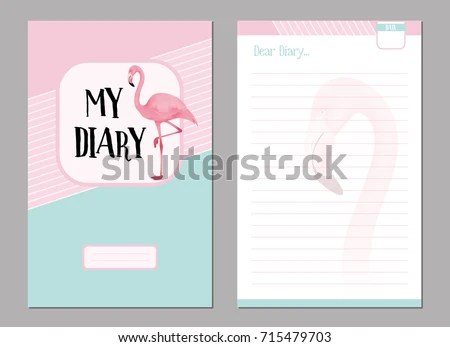 Personal Diary Template Set Pink Flamingo Stock Vector (Royalty Free