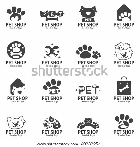 Pet Shop Food Toys Signs Set Stock Vector (Royalty Free) 609899561