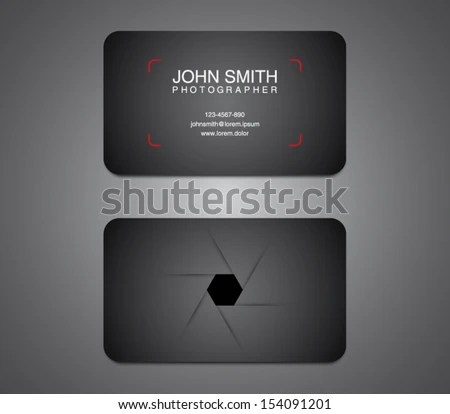 Photographer Business Card Template Photography Photo Stock Vector