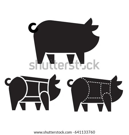 Pig Silhouette Icon Pork Cuts Chart Stock Vector (Royalty Free