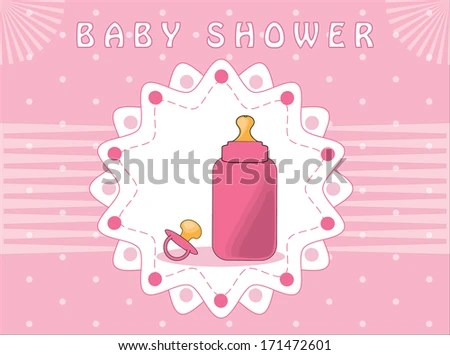 Pink Baby Shower Invitation Card Pacifier Stock Vector (Royalty Free
