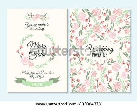 Pink Green Wedding Invitation Thank You Stock Vector (Royalty Free