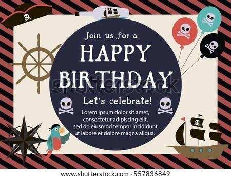 Pirate Happy Birthday Invitation Card Template Stock Vector (Royalty