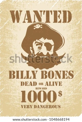 Pirates Wanted Poster Template Pirate Childrens Stock Vector