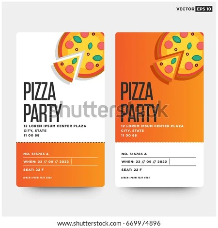 Pizza Party Invitation Template Design Stock Vector (Royalty Free