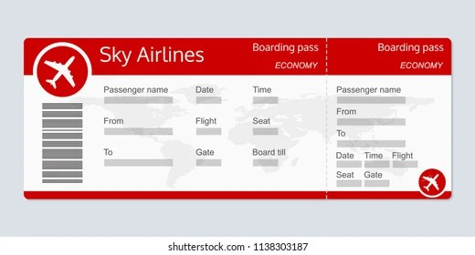 Plane Ticket Template Airplane Flight Ticket Stock Vector 1137051533 - plane ticket template