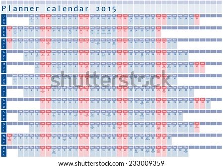Planner Calendar 2015 Holidays Posted Inside Stock Vector (Royalty