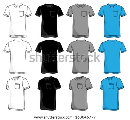 Pocket Tshirt Template Stock Vector (Royalty Free) 163046777