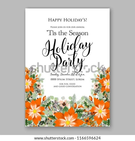 Poinsettia Christmas Party Invitation Winter Floral Stock Vector