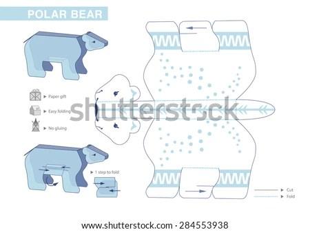 Polar Bear Paper Model Cutouts Children Stock Vector (Royalty Free