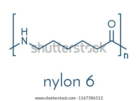 Polycaprolactam Nylon 6 Polymer Chemical Structure Stock Vector