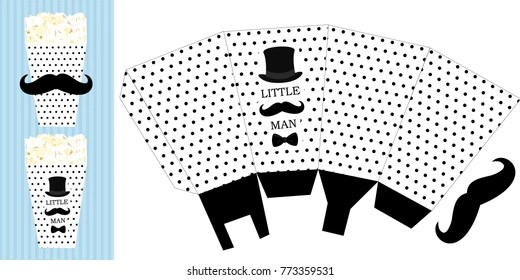 Black Hat Mustache Bow Tie Printable Stock Vector (Royalty Free