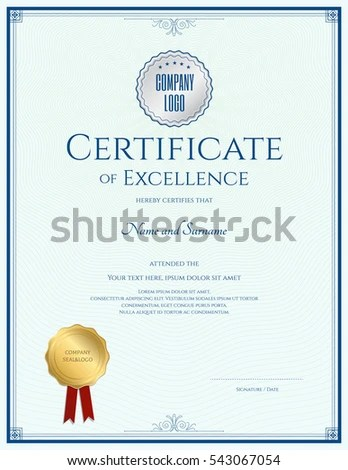 Portrait Certificate Excellence Template Gold Seal Stock Vector