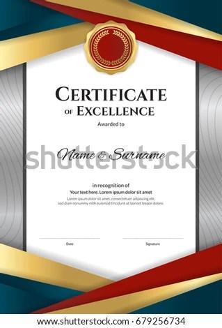 Portrait Luxury Certificate Template Elegant Border Stock Vector - graduation border templates free