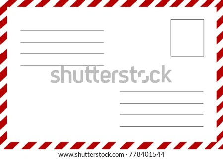 Postcard Reverse Side Lines Writing Address Stock Vector (Royalty
