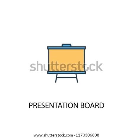 Presentation Board Concept 2 Colored Line Stock Vector (Royalty Free