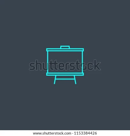 Presentation Board Concept Blue Line Icon Stock Vector (Royalty Free