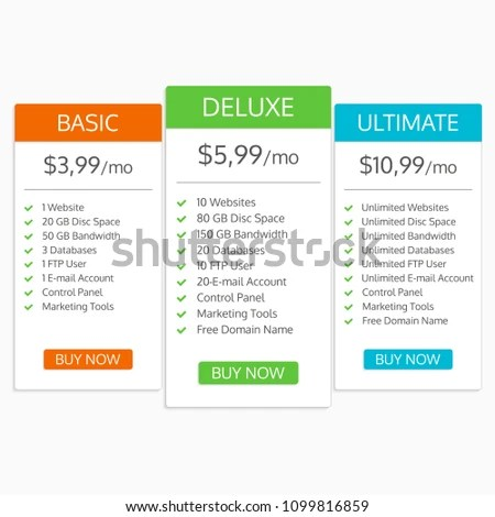 Pricing Table Template Hosting Plans Comparison Stock Vector