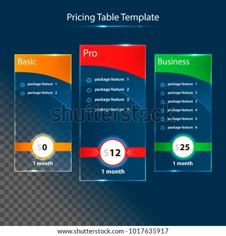 Pricing Table Templates Glass Design Element Stock Vector (Royalty