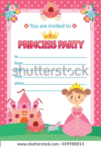 Princess Birthday Party Invitation Template Card Stock Vector