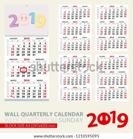 Print Template Wall Quarterly Calendar 2019 Stock Vector (Royalty