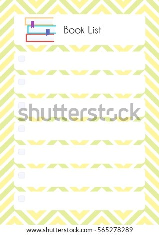 Printable Diary Page Book List Paper Stock Vector (Royalty Free