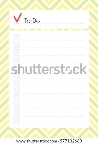 Printable Diary Page Do Checklist Daily Stock Vector (Royalty Free