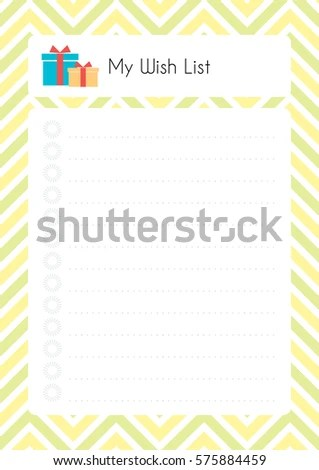 Printable Diary Page My Wish List Stock Vector (Royalty Free