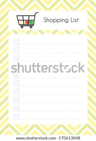 Printable Diary Page Shopping List Paper Stock Vector (Royalty Free