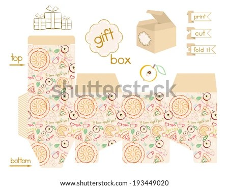 Printable Gift Box Apple Pie Pattern Stock Vector (Royalty Free