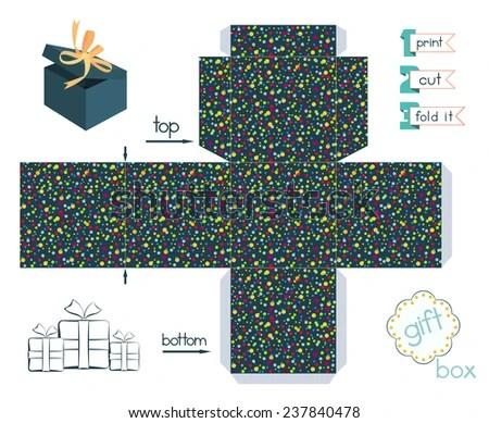 Printable Gift Box Confetti Pattern Template Stock Vector (Royalty