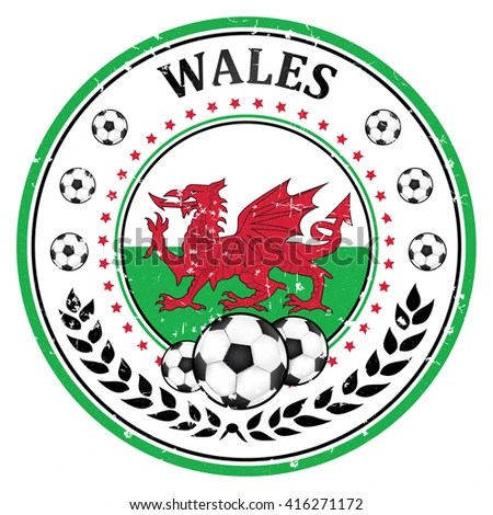 Printable Wales Football Team Stamp Label Stock Vector (Royalty Free