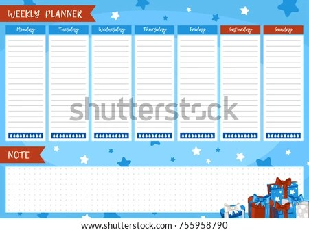 Printable Weekly Planner Cute Page Notes Stock Vector (Royalty Free