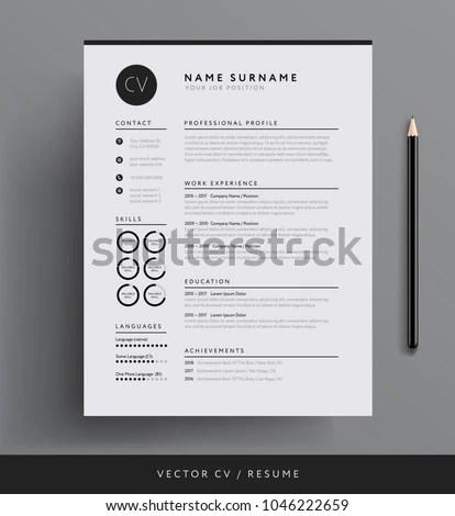 Professional CV Resume Template Design Creative Stock Vector