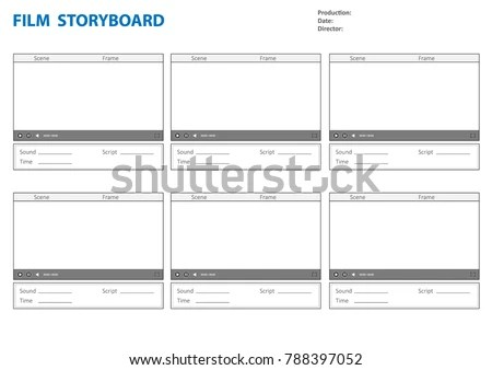 Professional Storyboard Storyboard Template Film Story Stock Vector