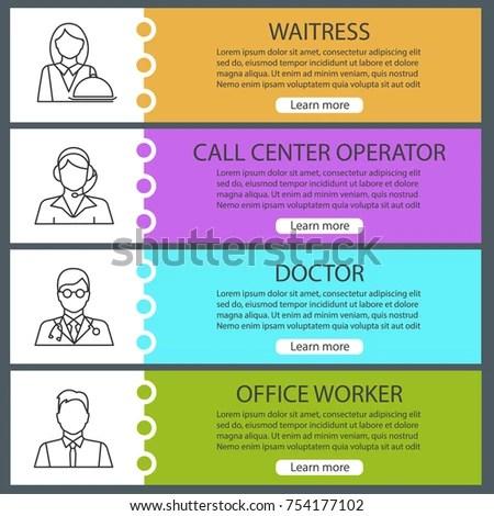 Professions Web Banner Templates Set Waitress Stock Vector (Royalty