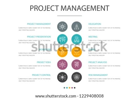 Project Management Presentation Template Cover Layout Stock Vector