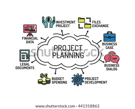 Project Planning Chart Keywords Icons Sketch Stock Vector (Royalty