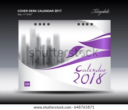 Purple Cover Desk Calendar 2018 Design Stock Vector (Royalty Free
